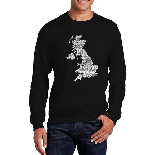 LA Pop Art Men's Word Art Crewneck Sweatshirt - GOD SAVE THE QUEEN