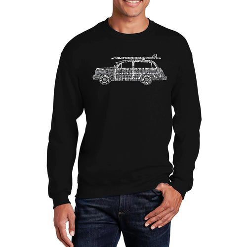 LA Pop Art Men's Word Art Crewneck Sweatshirt - Woody - Classic Surf Songs