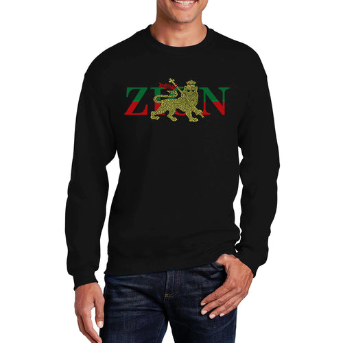 LA Pop Art Men's Word Art Crewneck Sweatshirt - Zion - One Love