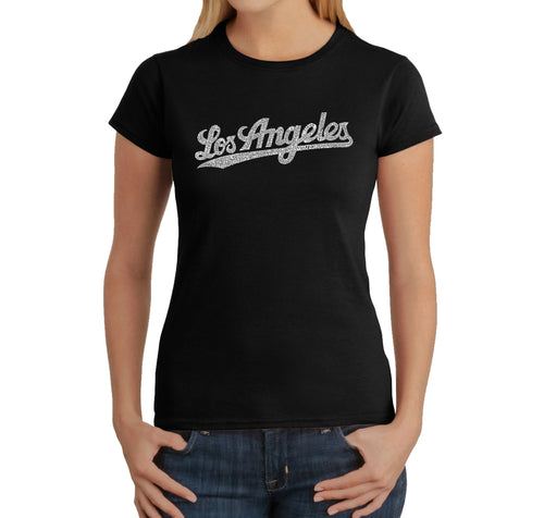LA Pop Art Women's Word Art T-Shirt - LOS ANGELES NEIGHBORHOODS