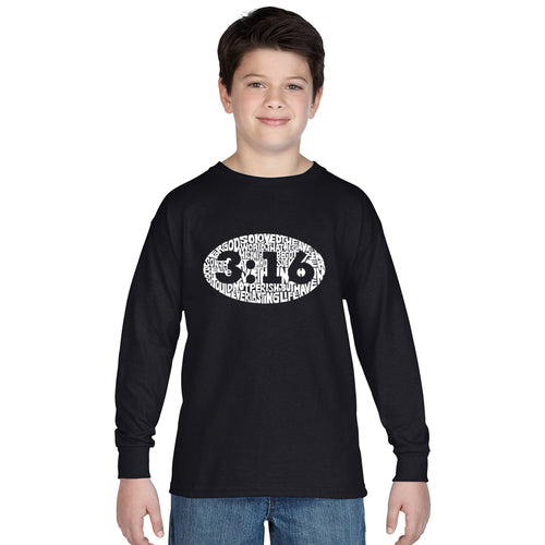 LA Pop Art Boy's Word Art Long Sleeve - John 3:16