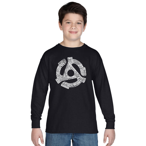 LA Pop Art Boy's Word Art Long Sleeve - Record Adapter