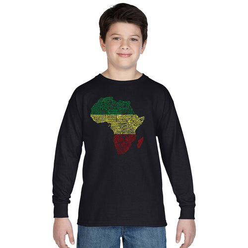 LA Pop Art Boy's Word Art Long Sleeve - Countries in Africa