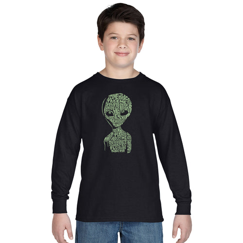 LA Pop Art Boy's Word Art Long Sleeve - Alien