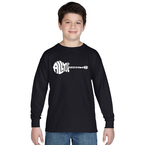 LA Pop Art Boy's Word Art Long Sleeve - All You Need Is Love