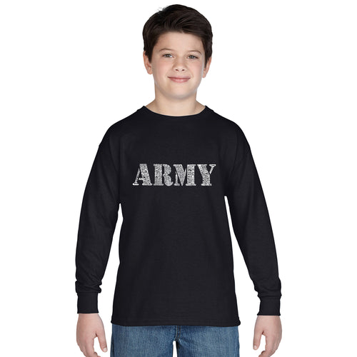 LA Pop Art Boy's Word Art Long Sleeve - LYRICS TO THE ARMY SONG