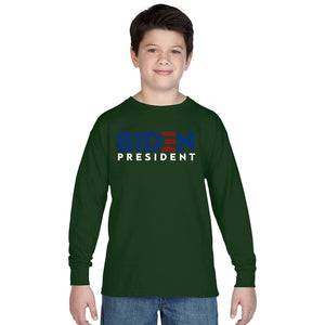 LA Pop Art Boy's Word Art Long Sleeve - Biden 2020