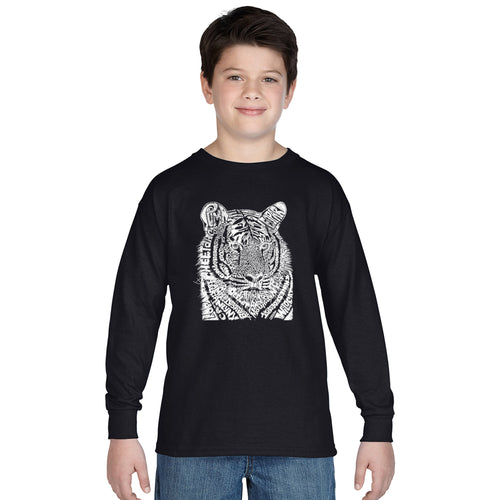 LA Pop Art Boy's Word Art Long Sleeve - Big Cats
