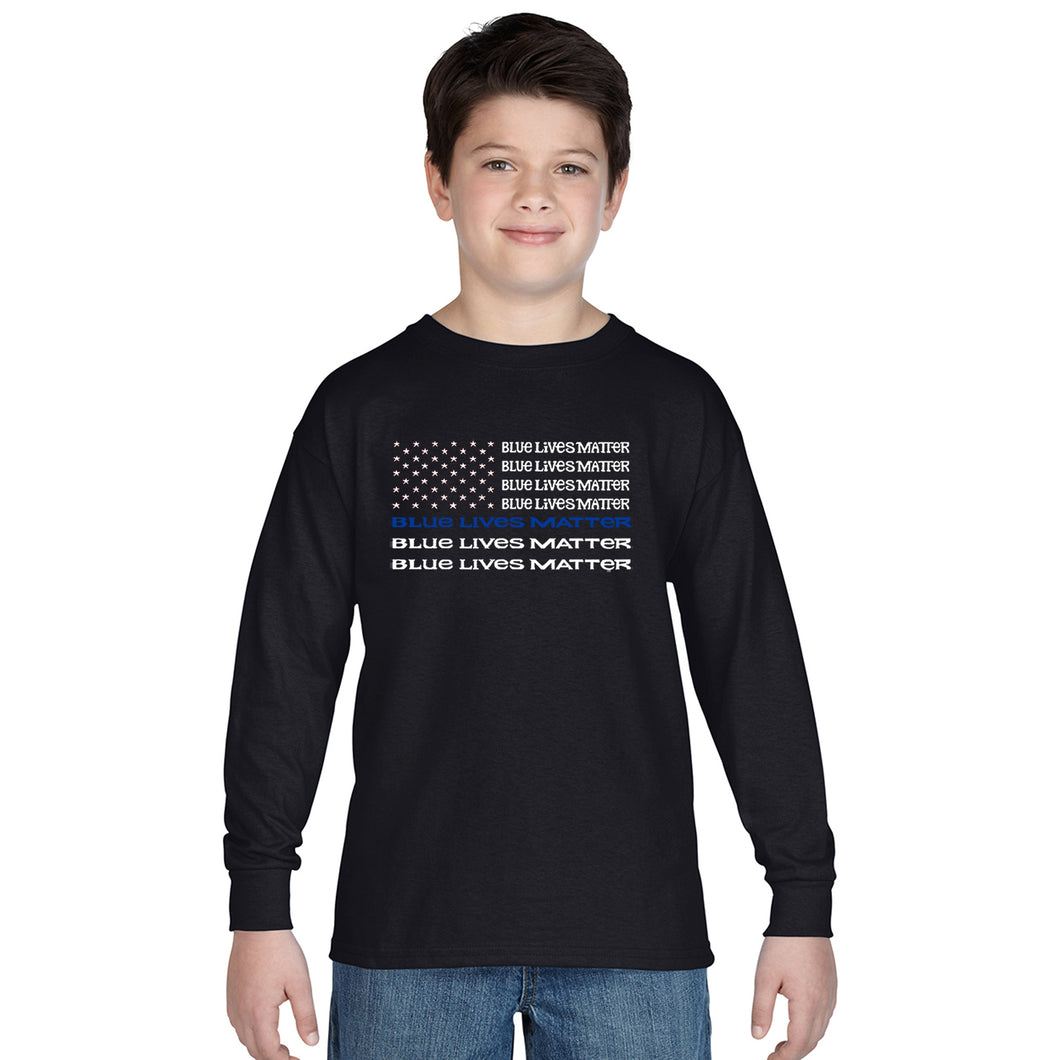 LA Pop Art Boy's Word Art Long Sleeve - Blue Lives Matter