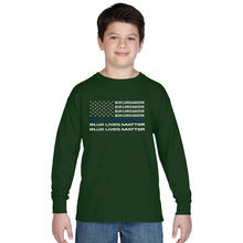 Load image into Gallery viewer, LA Pop Art Boy's Word Art Long Sleeve - Blue Lives Matter