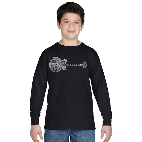 LA Pop Art Boy's Word Art Long Sleeve - Blues Legends