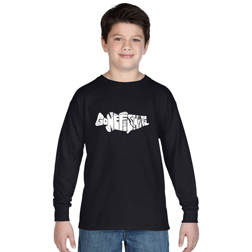 LA Pop Art Boy's Word Art Long Sleeve - Bass - Gone Fishing