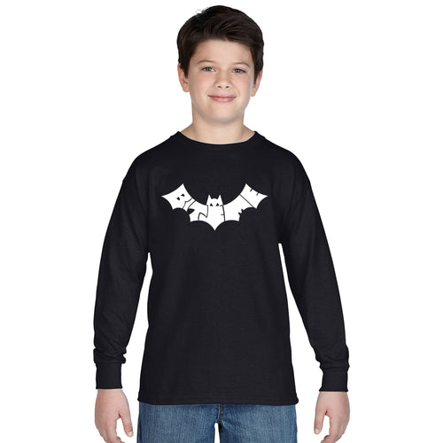 LA Pop Art Boy's Word Art Long Sleeve - BAT - BITE ME