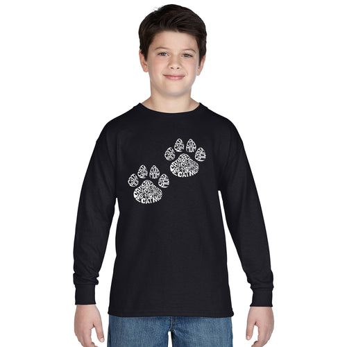 LA Pop Art Boy's Word Art Long Sleeve - Cat Mom