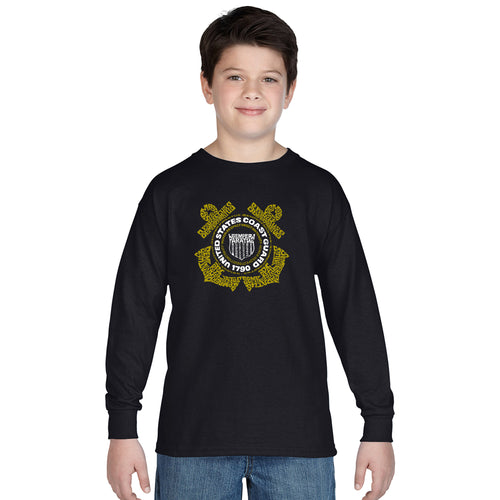 LA Pop Art Boy's Word Art Long Sleeve - Coast Guard