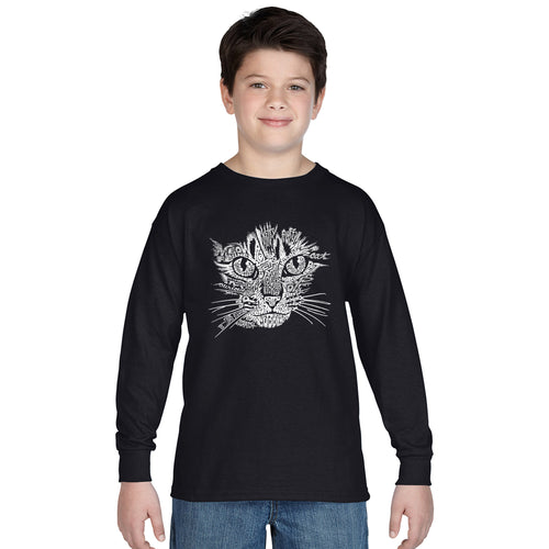 LA Pop Art  Boy's Word Art Long Sleeve - Cat Face