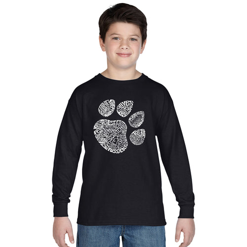 LA Pop Art  Boy's Word Art Long Sleeve - Cat Paw