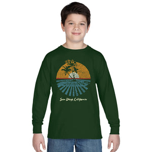 LA Pop Art Boy's Word Art Long Sleeve - Cities In San Diego