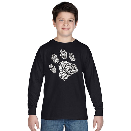 LA Pop Art Boy's Word Art Long Sleeve - Dog Paw