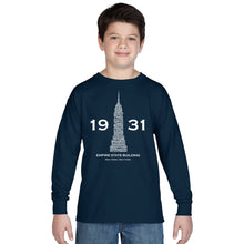 Load image into Gallery viewer, LA Pop Art Boy's Word Art Long Sleeve - Empire State Building