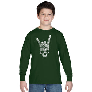 LA Pop Art Boy's Word Art Long Sleeve - Heavy Metal Genres