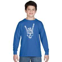 Load image into Gallery viewer, LA Pop Art Boy's Word Art Long Sleeve - Heavy Metal Genres