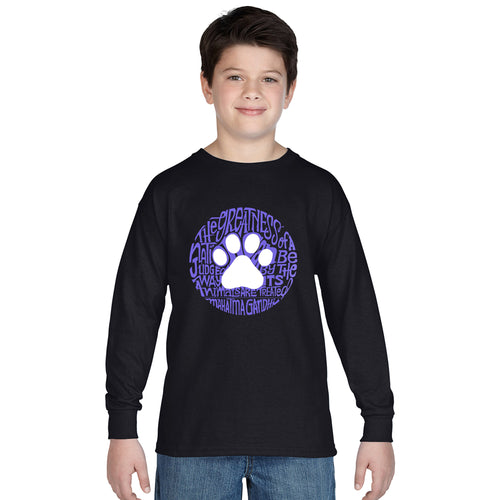 LA Pop Art Boy's Word Art Long Sleeve - Gandhi's Quote on Animal Treatment
