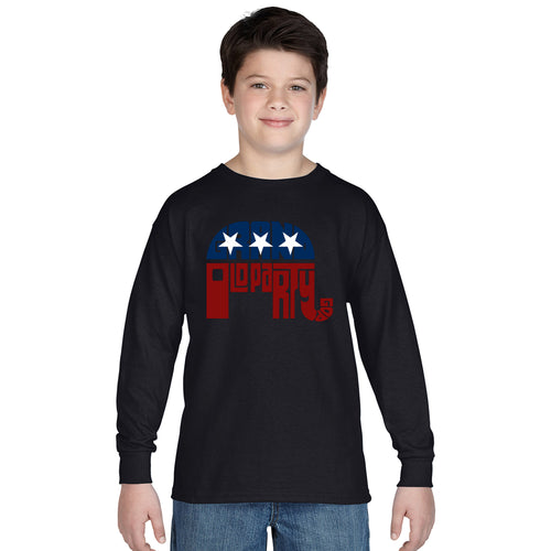 LA Pop Art Boy's Word Art Long Sleeve - REPUBLICAN - GRAND OLD PARTY