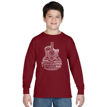 Load image into Gallery viewer, LA Pop Art Boy's Word Art Long Sleeve - Languages Guitar