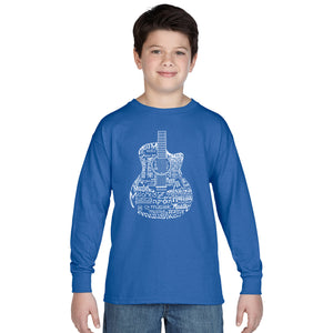 LA Pop Art Boy's Word Art Long Sleeve - Languages Guitar