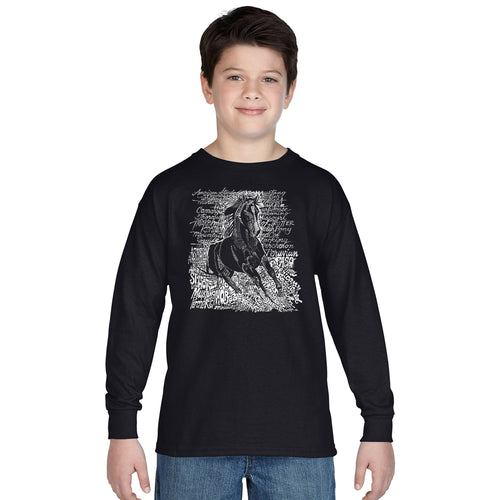 LA Pop Art Boy's Word Art Long Sleeve - POPULAR HORSE BREEDS