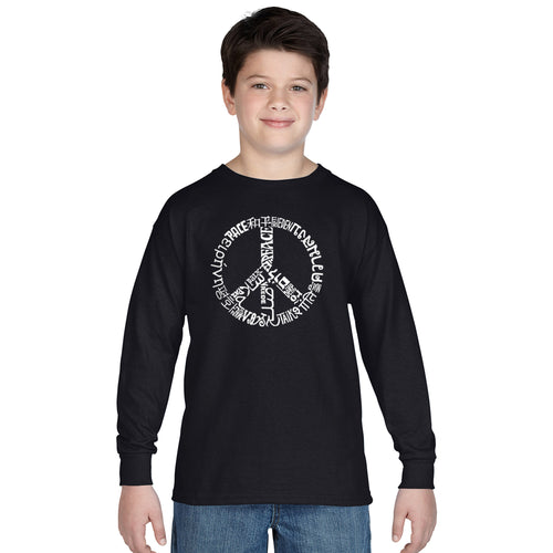 LA Pop Art Boy's Word Art Long Sleeve - THE WORD PEACE IN 20 LANGUAGES