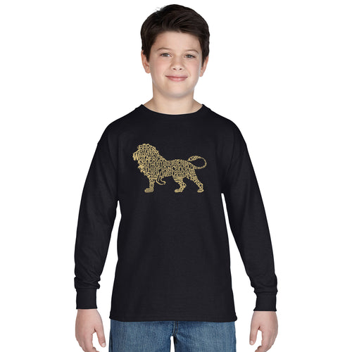 LA Pop Art Boy's Word Art Long Sleeve - Lion