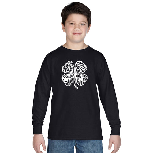LA Pop Art Boy's Word Art Long Sleeve - Feeling Lucky