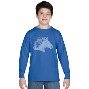LA Pop Art Boy's Word Art Long Sleeve - Horse Mane
