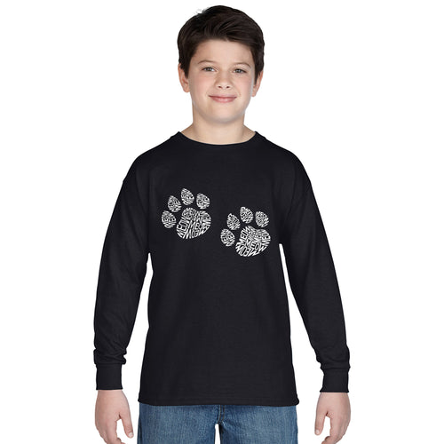 LA Pop Art Boy's Word Art Long Sleeve - Meow Cat Prints
