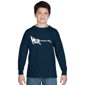 LA Pop Art Boy's Word Art Long Sleeve - Metal Head
