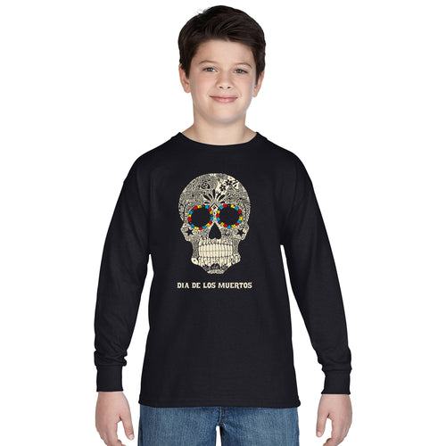 LA Pop Art Boy's Word Art Long Sleeve - Dia De Los Muertos