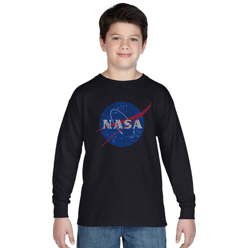 LA Pop Art Boy's Word Art Long Sleeve - NASA's Most Notable Missions