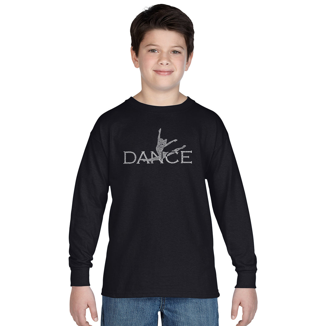 LA Pop Art Boy's Word Art Long Sleeve - Dancer
