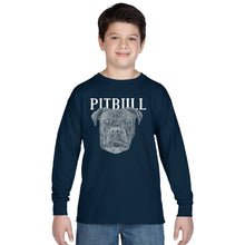 Load image into Gallery viewer, LA Pop Art Boy's Word Art Long Sleeve - Pitbull Face