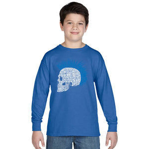 LA Pop Art Boy's Word Art Long Sleeve - Punk Mohawk