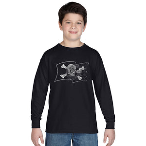LA Pop Art Boy's Word Art Long Sleeve - FAMOUS PIRATE CAPTAINS AND SHIPS