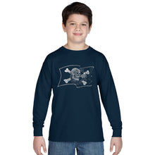 Load image into Gallery viewer, LA Pop Art Boy's Word Art Long Sleeve - FAMOUS PIRATE CAPTAINS AND SHIPS