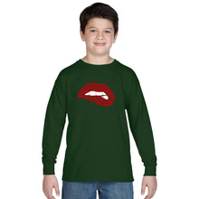 Load image into Gallery viewer, LA Pop Art Boy's Word Art Long Sleeve - Savage Lips