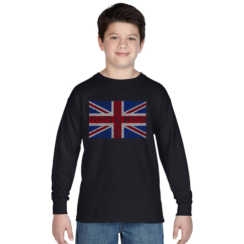 LA Pop Art Boy's Word Art Long Sleeve - God Save The Queen