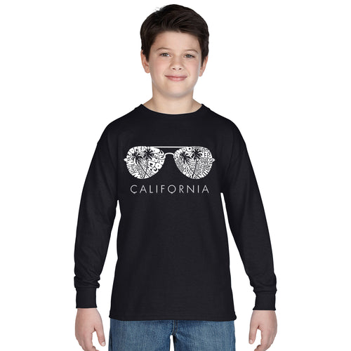 LA Pop Art Boy's Word Art Long Sleeve - California Shades