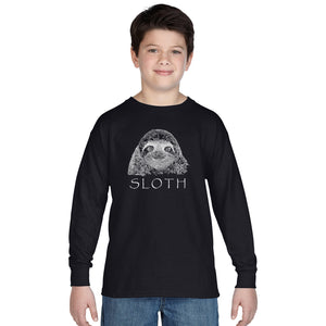 Limited Supply - LA Pop Art Boy's Word Art Long Sleeve - Sloth