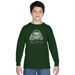 LA Pop Art Boy's Word Art Long Sleeve - Sloth