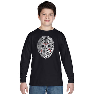 LA Pop Art Boy's Word Art Long Sleeve - Slasher Movie Villians